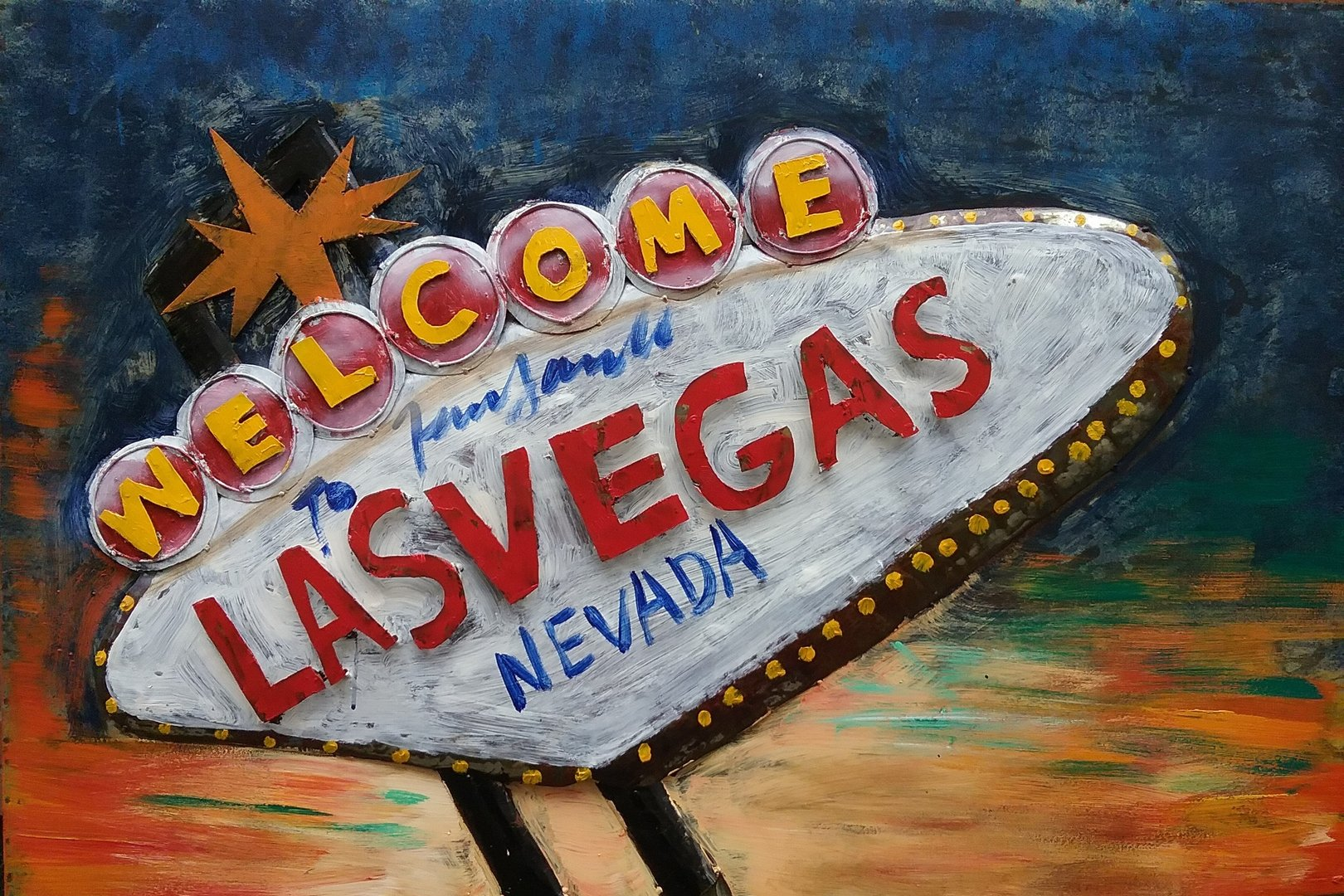 "Metallbild ""Welcome to Las Vegas""3D Wandbild"